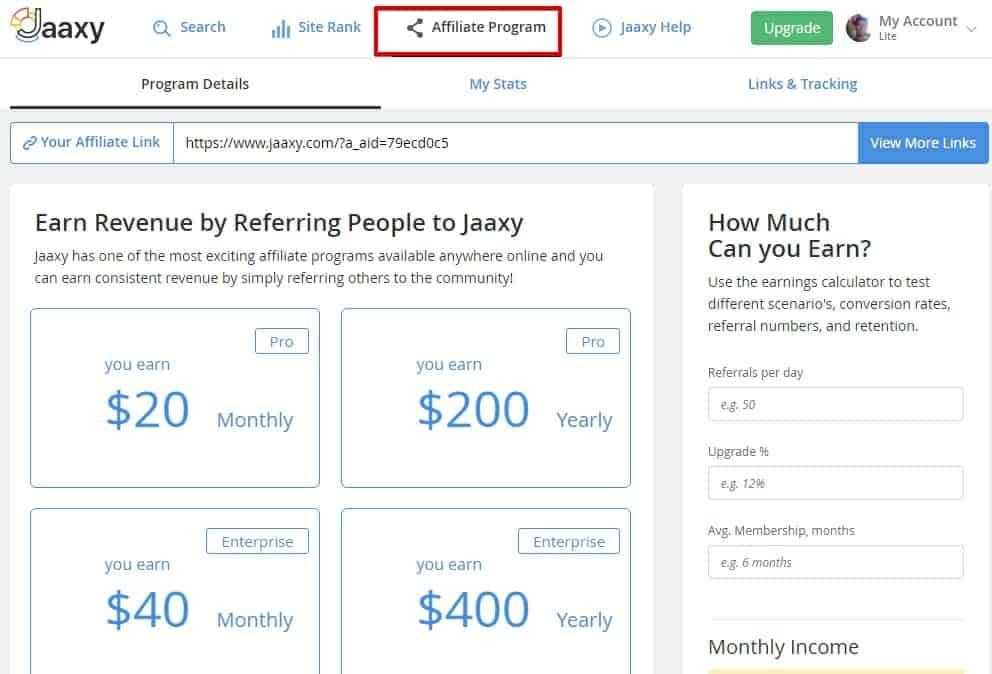 Jaaxy partner program dashboard