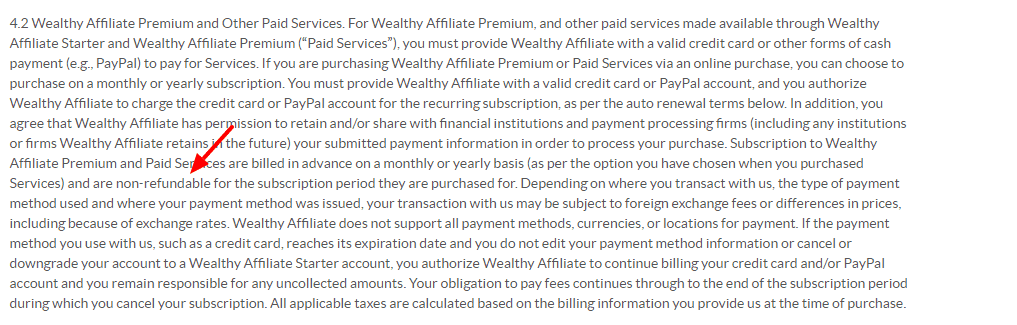 Wealthy Affiliate terms of service