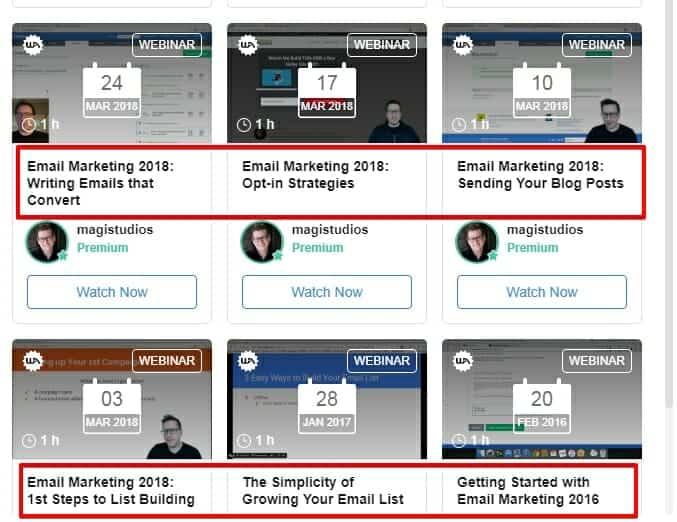 Wealthy Affiliate teaches email marketing through their webinars