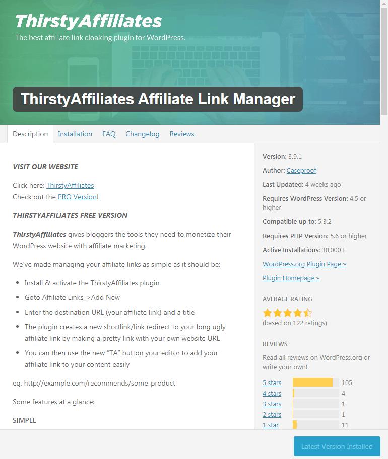 Thirsty affiliates plugin
