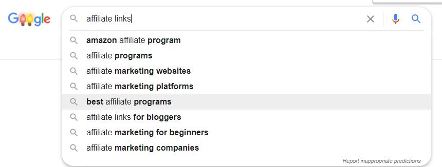 Affiliate links google autosuggest