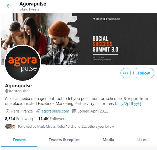 Agora Pulse awesome twitter profile