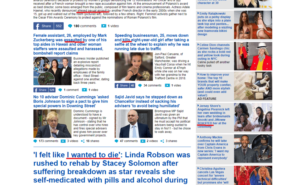 Daily Mail fear words