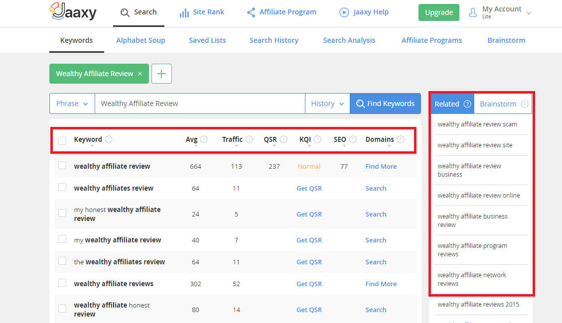 Keyword research with Jaaxy