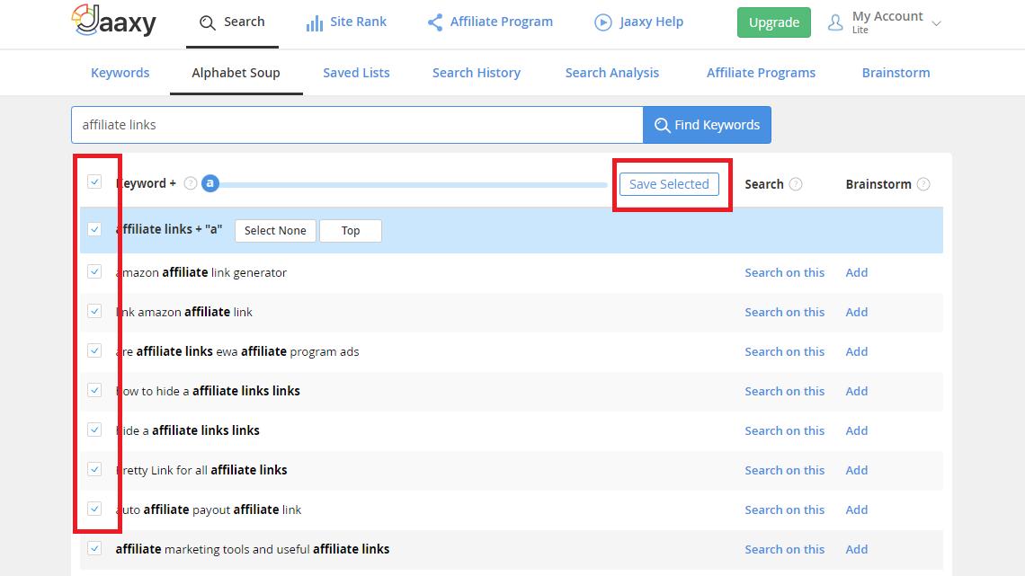 Jaaxy save keyword lists