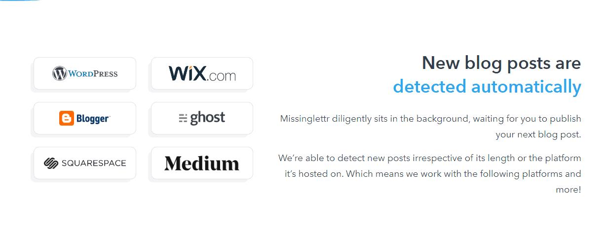 Missinglettr pulls content from several platforms