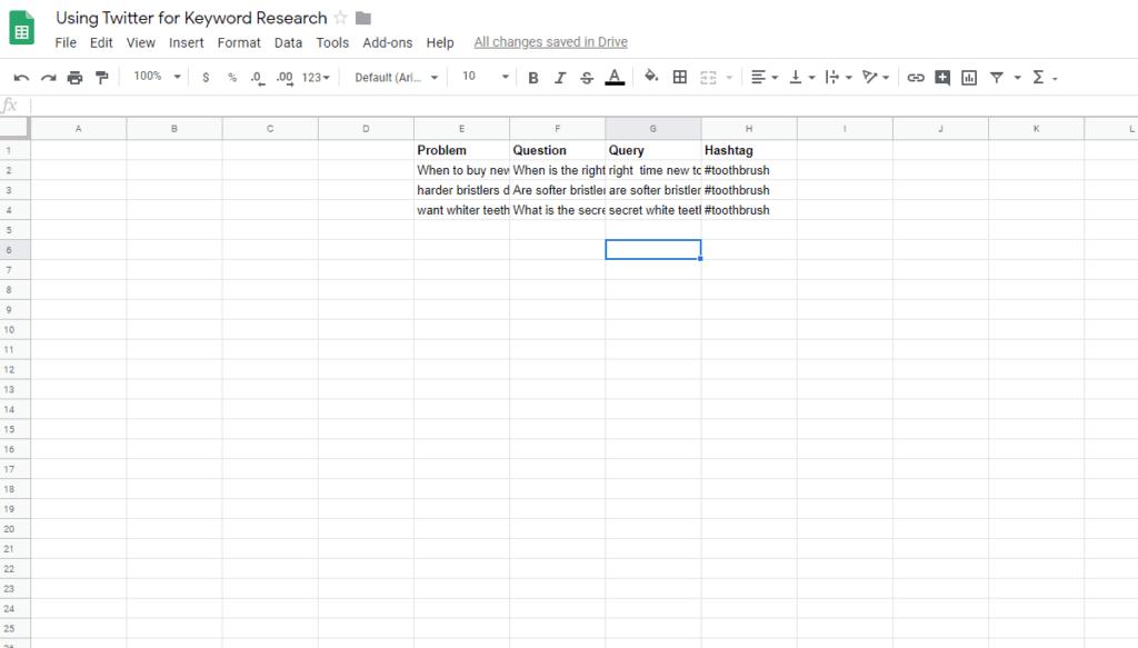 Spreadsheet for keyword from Twitter