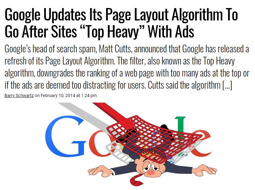 Top heavy Google algorythm