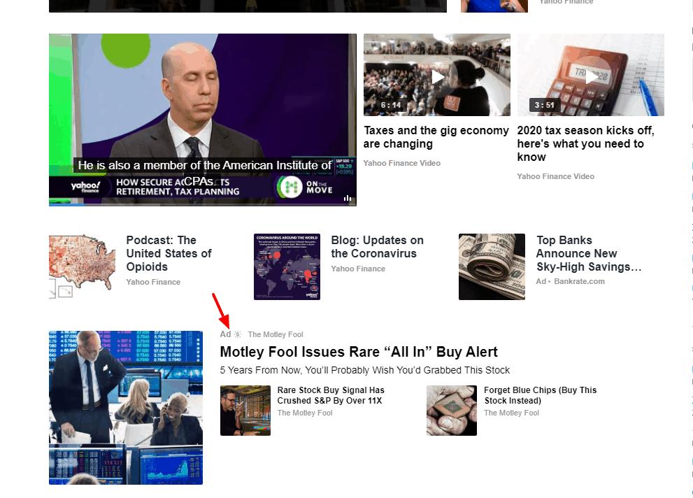Hidden advertisement on Yahoo Finance