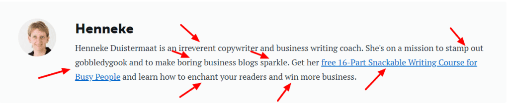 Henneke duistermaat CopyBlogger author bio power words