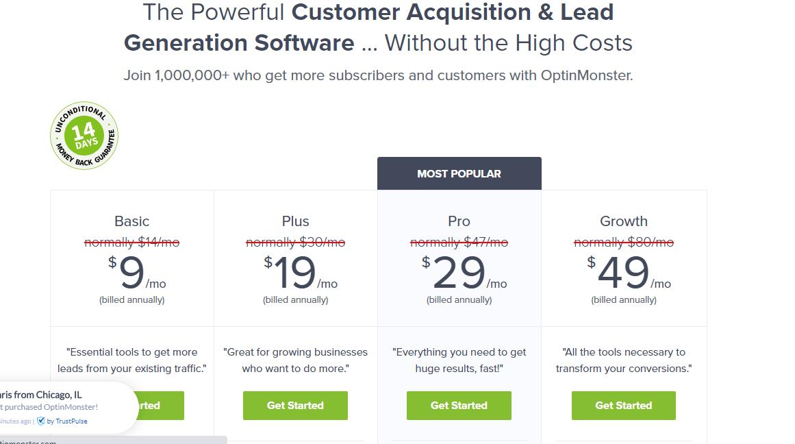 OptinMonster pricing plans