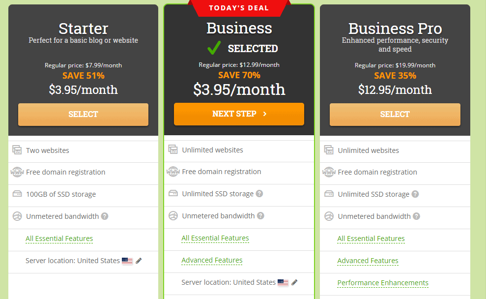 HostPapa pricing plans