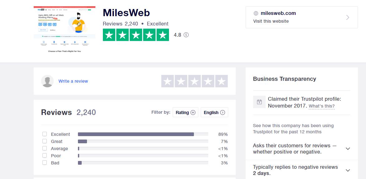 MilesWeb positive reviews