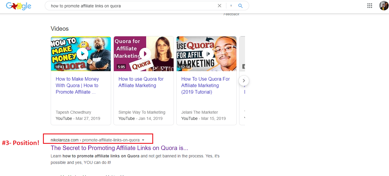 Near the top in SERPS