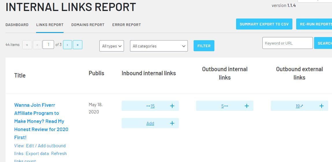 Internal Link Dashboard