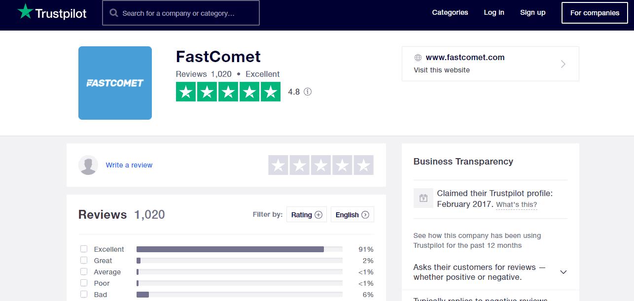 FastComet hosting Positive reviews on Trustpilot