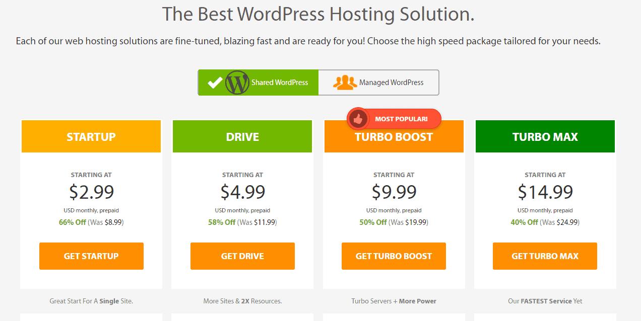 A2 Hosting managed WordPress hosting plans
