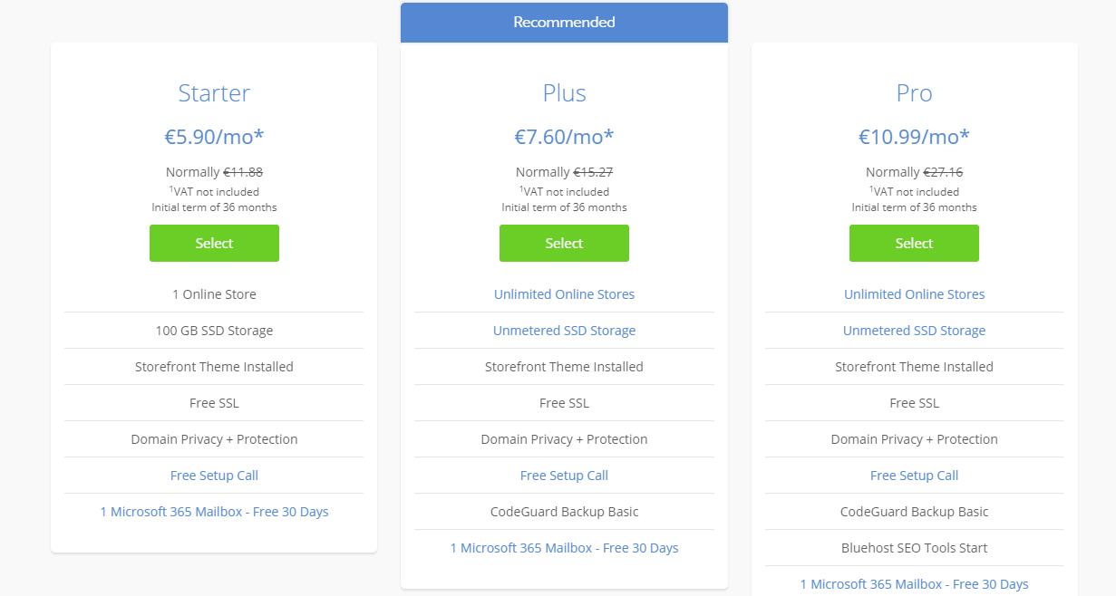 Bluehsot Woocommerce hosting plans