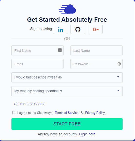 open a free account with Cloudways