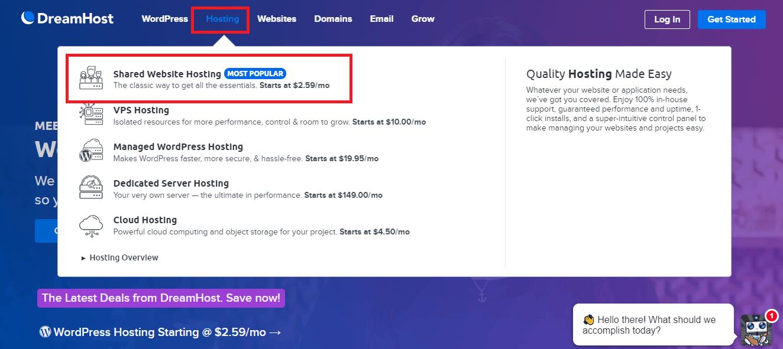 Dreamhost homepage pick shared hosting