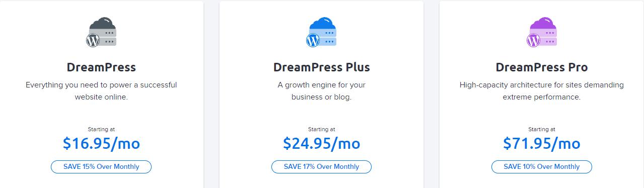 Dreamhost managed WordPress hosting plans