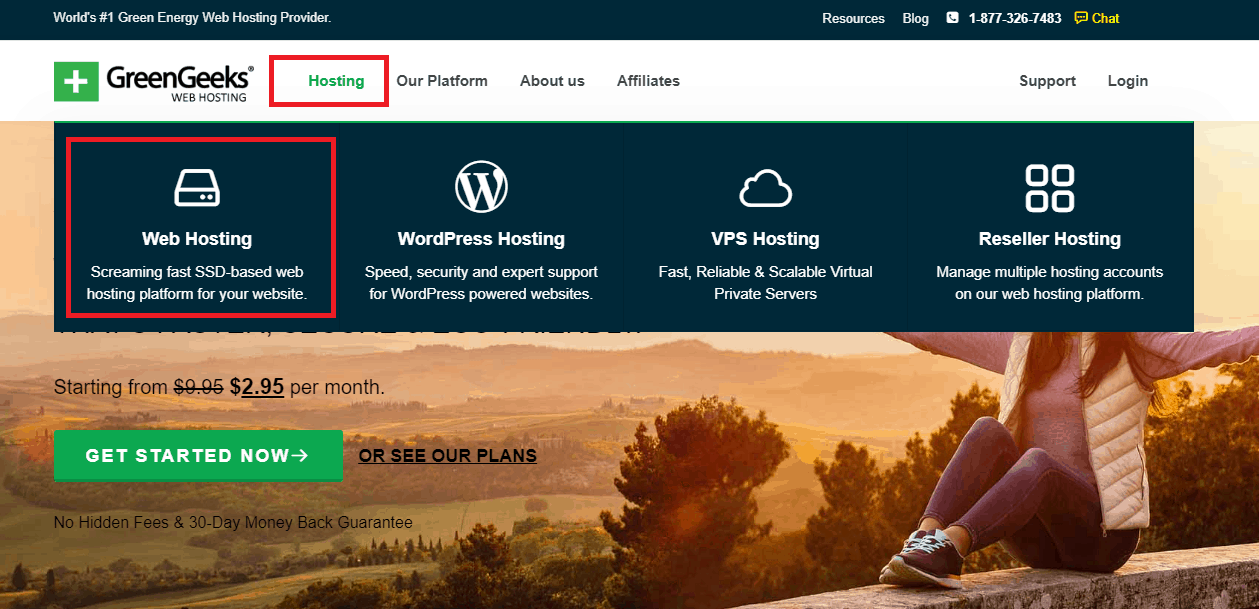 GreenGeeks homepage and web hosting