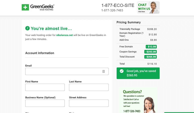 GreenGeeks complete order