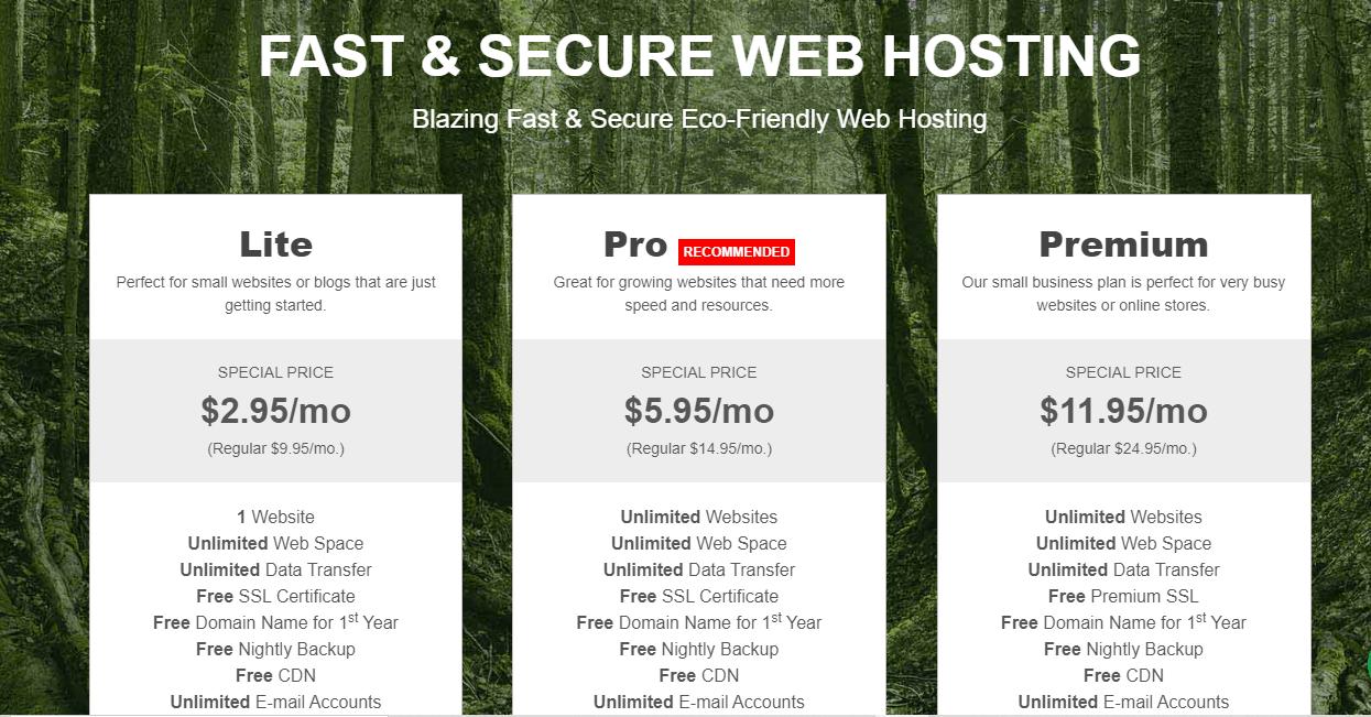 GreenGeeks shared hosting plans