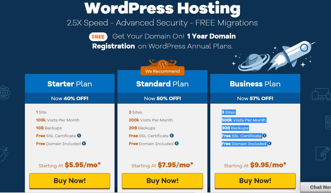 HostGator Managed WordPress Hosting plans