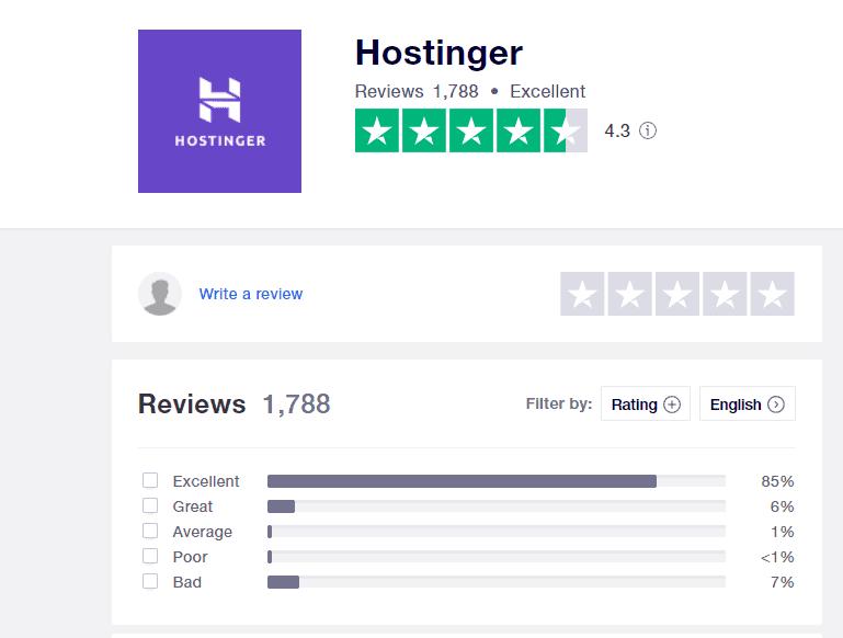 Hostinger positive reviews on Trustpilot