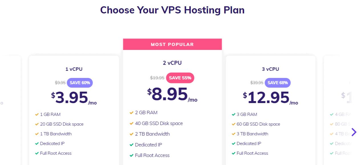 Hostinger VPS hosting plans
