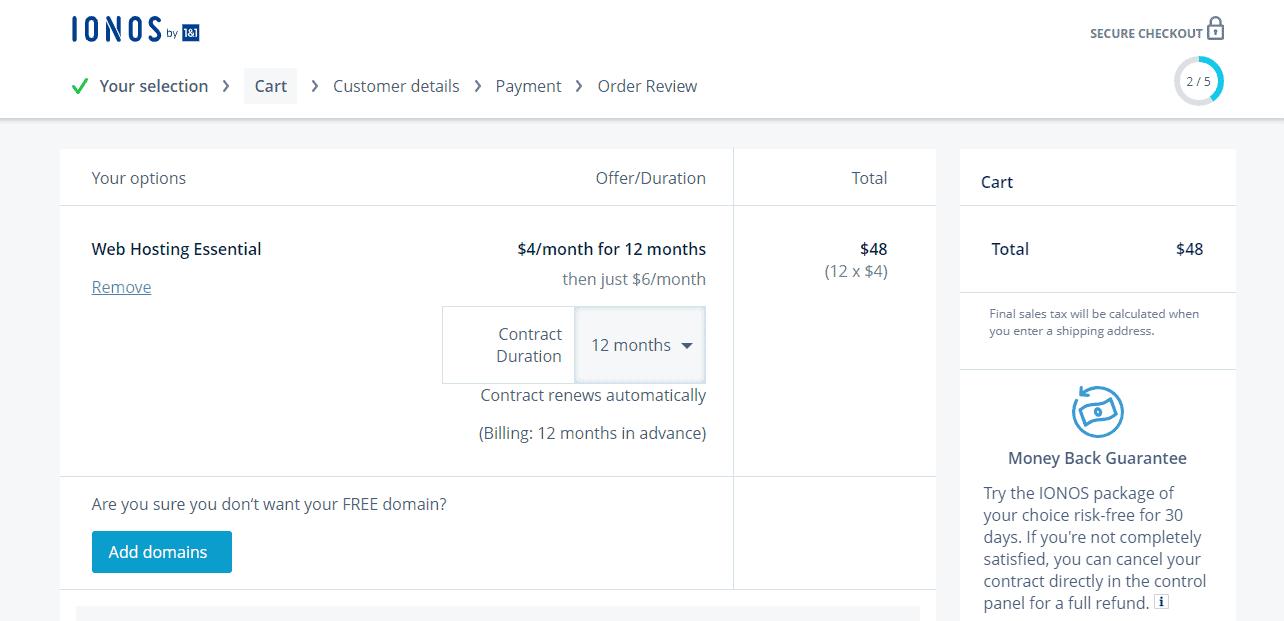 Ionos hosting duration oick