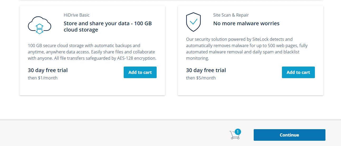 IONOS shared hosting add-ons