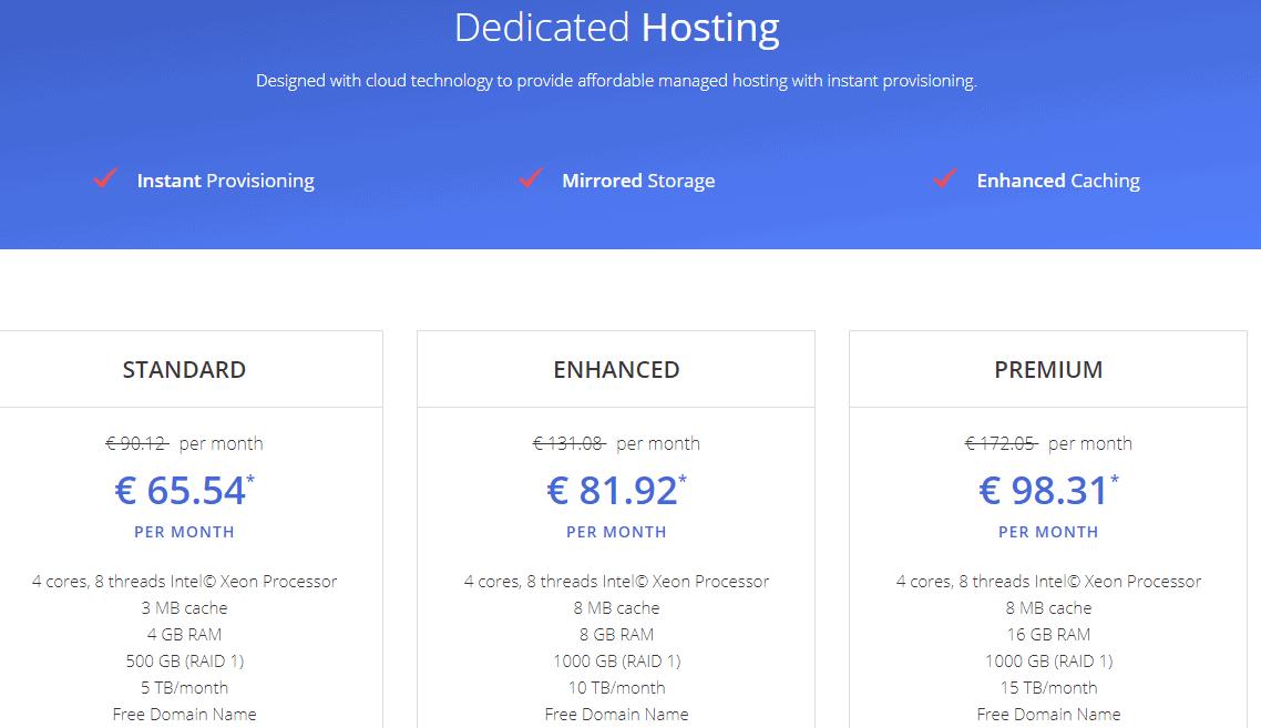 JustHost dedicated hosting