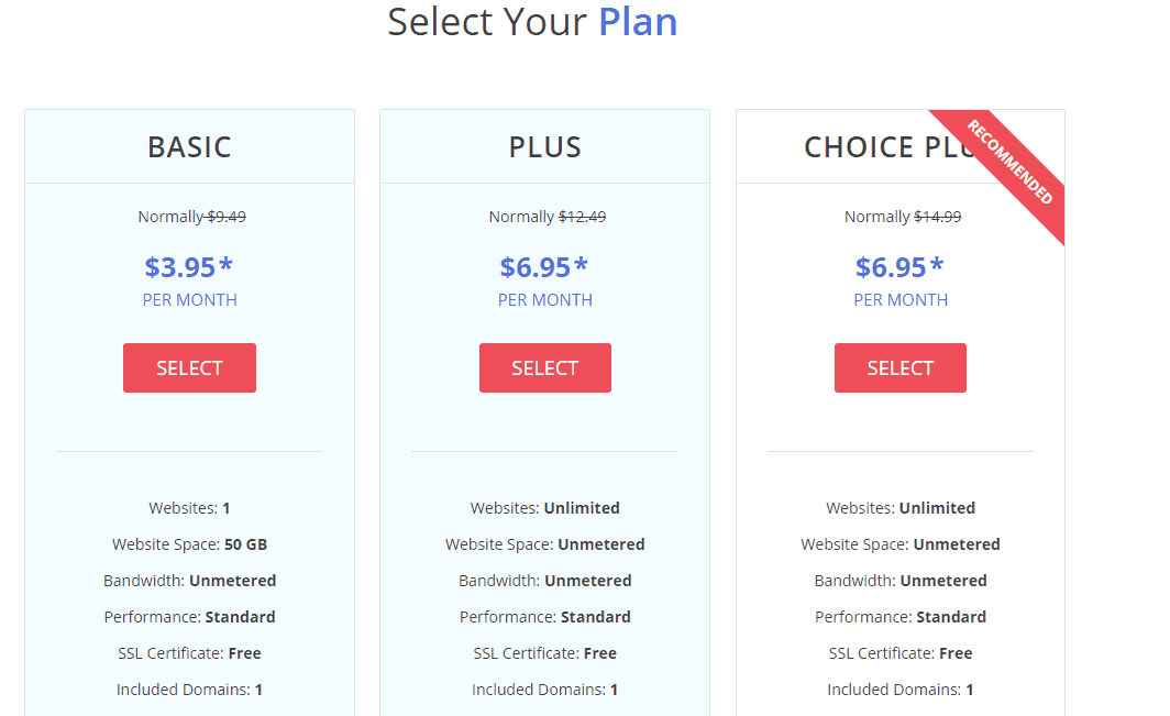 Justhost shared hosting plans