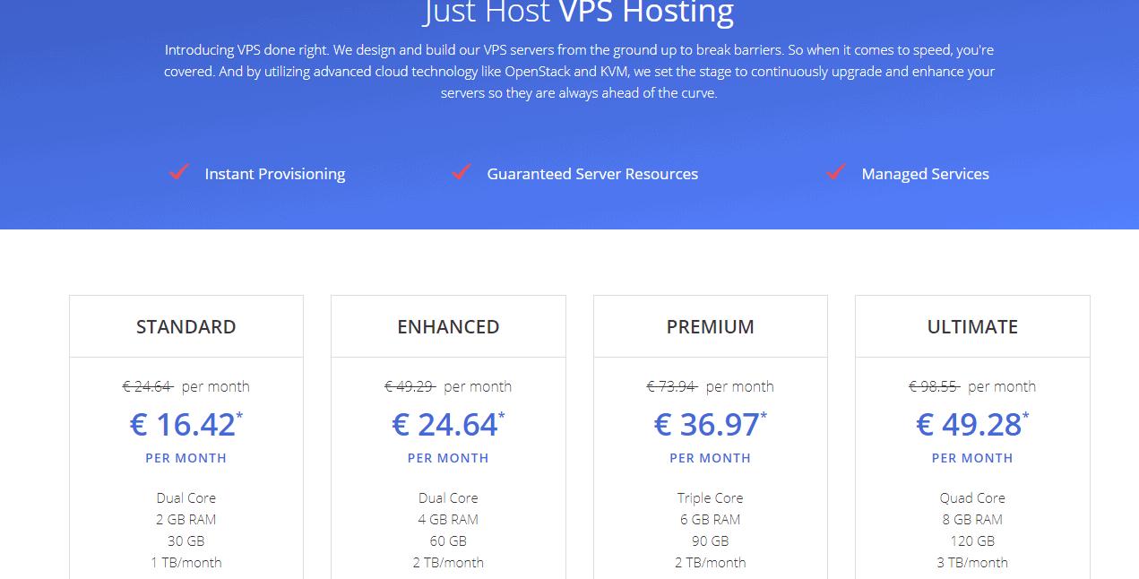 Justhost VPS hosting plans