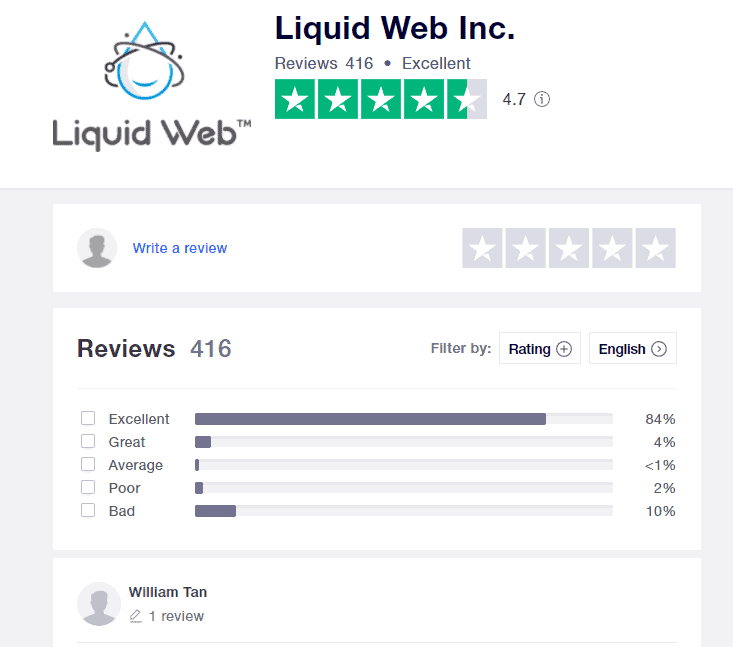 Liquid Web awesome reviews over on Trustpilot