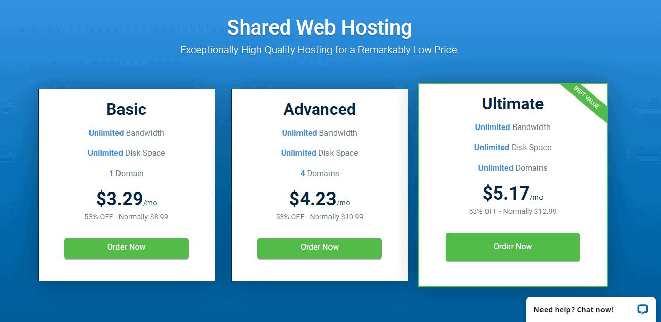 Shared hosting plans Hostwinds
