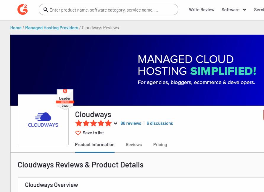 Cloudways web hosting G2 reviews