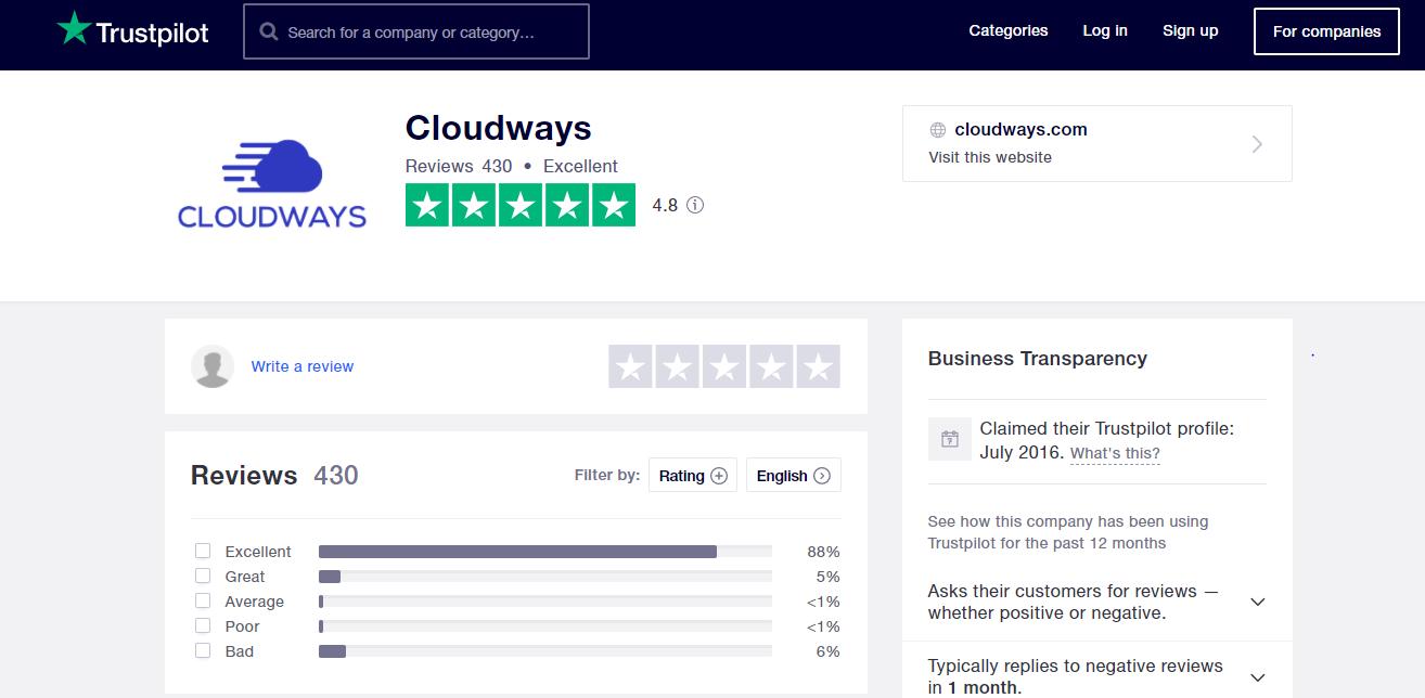 Cloudways reviews trustpilot