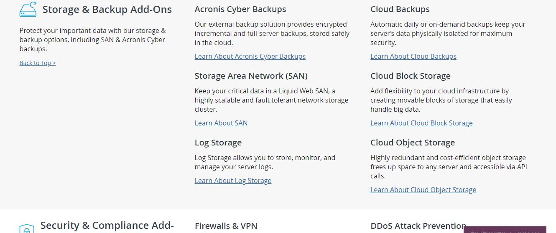 Liquid Web VPS Hosting add-ons