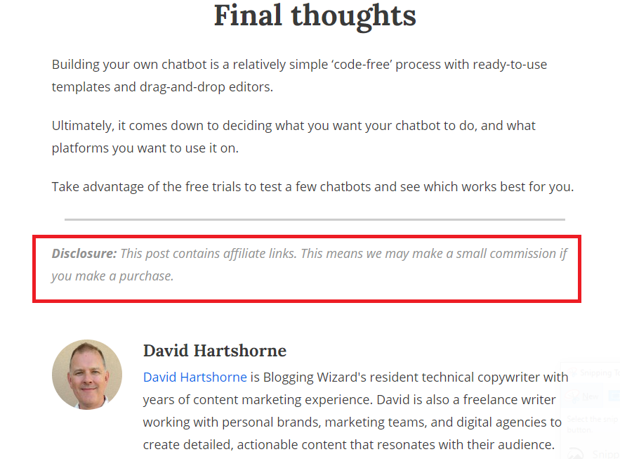 affiliate disclosure at the end of a blog post