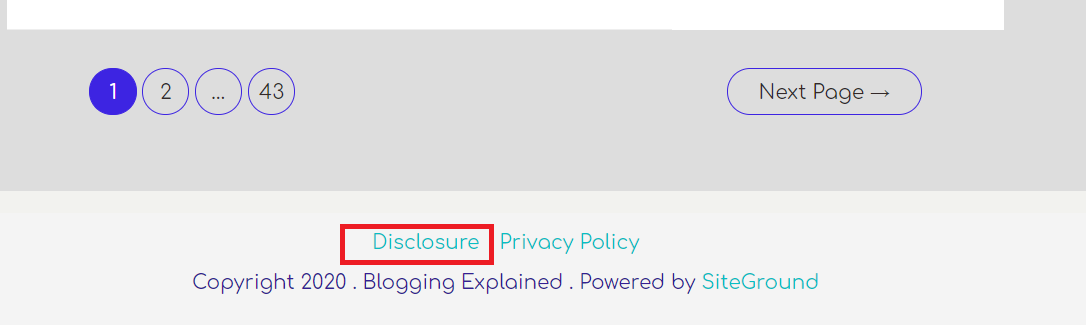 Affiliate disclosure in the footer