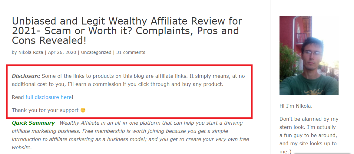 Affiliate disclosure at the top of the page