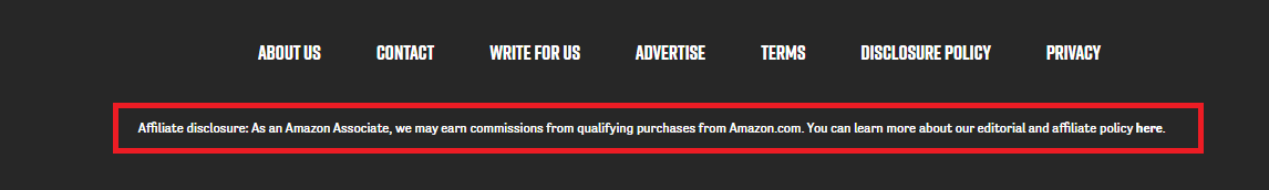 Amazon disclaimer example in the footer