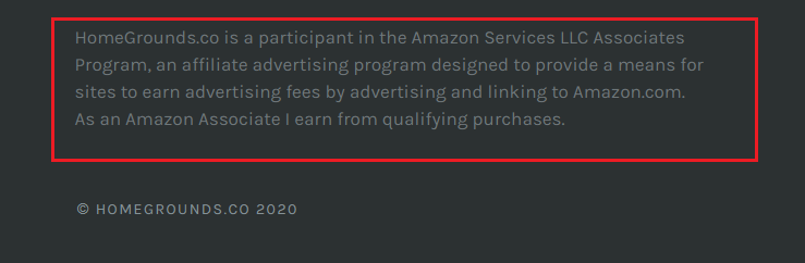 Amazon disclosure example in the footer