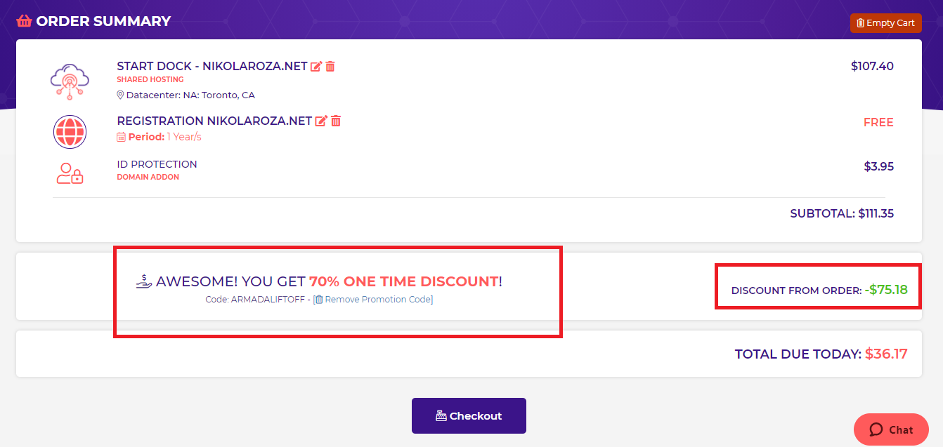 coupon automatically applied on HostArmada order