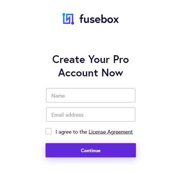 Fusebox create pro account