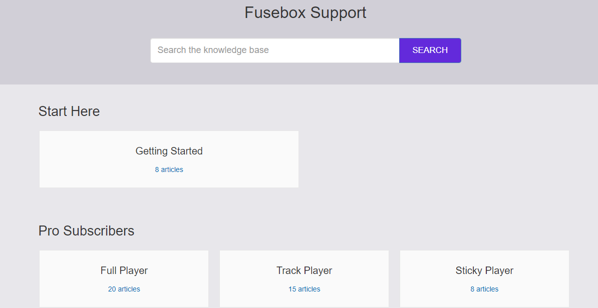 Fusebox knowledge center and support