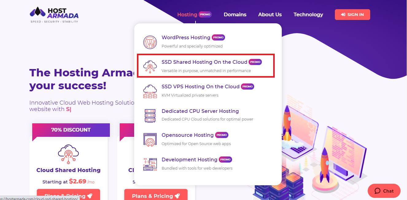 Pick HostArmada shared plans on a cloud